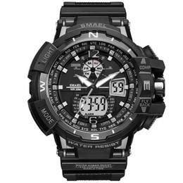 Wholesale Men S Big Watch - New Brand Smael Watch Dual Time Big Dial Men Sports Watches S Shock Waterproof Digital Clock Men's Wristwatch relogio masculine drop shippin