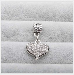 Wholesale Crystal Pink Heart - Fits Pandora Bracelets 30pc Heart Crystal Charms Bead Dangle Silver Beads Floating For Wholesale Diy European Sterling Necklace Jewelry Xmas