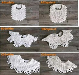 Wholesale White Infant Bibs - INS white lace bibs infant baby girls cotton bibs new top design newborn kids girls burp cloths baby feeding 6styles choose