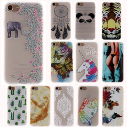 Wholesale Elephant Iphone 3d - Case For Iphone 7 Plus 6 6S SE 5 5S 3D Relief Soft TPU Marble Panda Elephant Wolf Sunflower Butterfly Tiger Unicorn Cartoon Cover