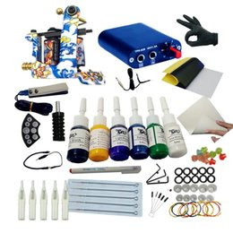 Wholesale Body Tattoo Ink - Tattoo Kit Machine Gun Set 6 Colors Inks Sets Disposable Supplies Mini Power Supply Set Beginner Tattoo Kit Tattoo Body Art Accessories
