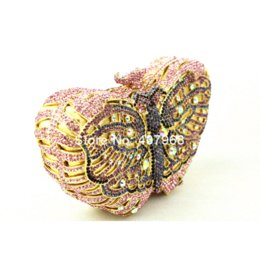 Wholesale Totes Bags For Cheap - Pink Butterfly Evening Bags Cocktail Crystal Clutches Outlet Cheap Special Occasion Bags Discount Designer Purses for Weddings