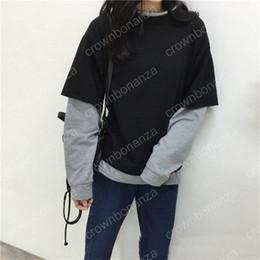 Wholesale Women Loose Grey Sweatshirts - Fake Two Pieces Hoodie Women Korean Fashion Style Black Grey Patchwork Sweatshirt Female Harajuku Loose Cotton Crossfit Pullover