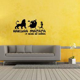 Wholesale Wall Stickers Lion - Hakuna Matata Lion King Quote Simba Timon Pumbaa Removable Wall Art Vinyl Decal Sticker Diy Decor