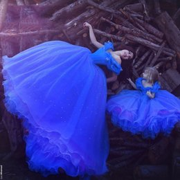 Wholesale Quinceanera Mothers Dress - Blue Off-Shoulder Mother And Daughter Prom Dresses Puffy Ball Gown Cinderella Quinceanera Dresses Evening Dresses Long