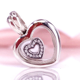 Wholesale Glass Beads Crystal Round - Wholesale Summer Jewellery 925 Silver Bead Floating Heart Locket Sapphire Crystal Glass Charm Fits Pandora Jewelry Bracelets Necklace