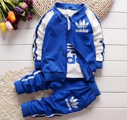 Wholesale Children Fashion Jacket - Kids Clothes Boy 3pc set Boys Girls 2016 Baby Boys Autumn Coats And Jackets Pants Set Fashion Children Clothing Sports Suit