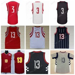 Wholesale Chinese Yellow - High Qiality 13 James Harden Sale Basketball Jerseys Throwback Chinese 3 Chris Paul Jersey Sport Stitched Red White Blue with player name
