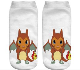 Wholesale Girls Hot Fashion Young - Zohra 2017 Pikachu Hot Fashion young charizard Printed Meias Women's Girls Low Cut Ankle Sock Calcetines Go Hosiery Socks