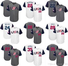 Wholesale Gold 12 - 2017 USA Baseball Jerseys 27 Giancarlo Stanton 10 Adam Jones 12 Nolan Arenado 28 Buster Posey 35 Eric Hosmer World Baseball Classic Jersey