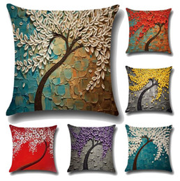 Wholesale Hotel Brand Pillows - Oil Painting Style Cushion Cover 100% Flax Colorful Trees Flowers Simple Shape Pillows Cover Nordic Simple Brand Pillow Case