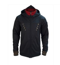 Wholesale Black Unity - Wholesale-assassins creed costume assassins creed jacket unity arno hoodie black with blue shade with 5 interchangeable patches In store