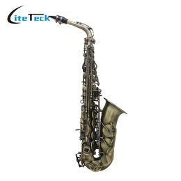 Wholesale Silver Alto Sax - Wholesale- High Quality Bronze Eb E-flat Alto Saxophone Sax Abalone Shell Key Carve Pattern High Grade Antique Finish Bend