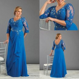 Wholesale Peacock Light Vintage - Classic Plus Size Mother Bride Dresses V Neck Crytal Beaded Lace Bodice A Line Sweep Train Peacock Blue Chiffon Mother Of Bride Dress