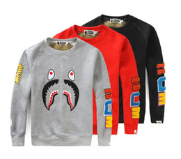 Wholesale Slim Mouth - The tide card shark mouth embroidered skate board stitching Mens kanye west Sleeved Sweater Jacket hip hop men and women and couples