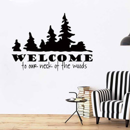 Wholesale wall words decals lettering stickers - Free Shipping Welcome To Our Neck Of The Woods Removable Vinyl Wall Decal Quote Wall Lettering Art Words Wall Stickers