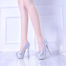 Wholesale Elegent Shoes - 2017 Elegent Lady Silver Lace Stiletto Genuine Leather High Heels Colorful Rhinestone Decoration Bridal Wedding Shoes Party Proms Women