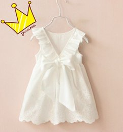Wholesale Embroidered Kid - Girls Kids Princess White Bow Dress For Children 100% Cotton Ruffles Sleeveless Dress Baby Backless Embroidery Hollow Out Dresses Skirts