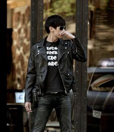 Wholesale men leather down jacket - Leather Jacket Men Turn-down Collar Streetwear PU Mens Leather Jackets Skull Punk Free shipping
