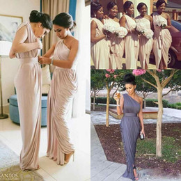 Wholesale Pale Blue Chiffon Bridesmaid Dress - 2017 Pale Dusty Pink One shoulder Bridesmaid Dresses Modern Long Country Elegant Cheap Maid of Honor Wedding Guest Party Dress