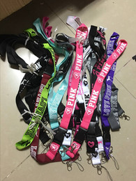 Wholesale Key Id Neck Strap Lanyards - 2017 hot VS LOVE PINK Neck Strap Lanyard With silver metal Clip Multi Color key phone work ID card lanyaed