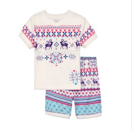 Wholesale Girls Pig Clothing - Girls Pajamas 2017 Summer New Arrival Top T-shirt Short Sleeves Striped Casual Clothes Girls Fashion Wibbly Pig 2 Sets Baby Clothing