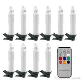 Wholesale Wholesale Led Tea Lights Candles - 10Pcs Battery power flickering RGB Tea Flameless Remote Control LED taper Candle Light Wedding Xmas Party tree+12 key controller