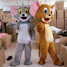 Wholesale Mouse Mascot Outfits - free shipping Tom Cat and Jerry Mouse Mascot Fancy Dress Outfit Chirstmas Adult Size Cartoon Costume