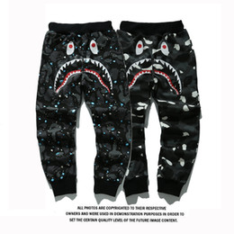 Wholesale Shark Trousers - Men's Sportswear Pants Jogger Tracksuit Causel Fleece Crewneck Drake Black Hip Hop Stusay Men's Shark Mouth Uminous Trousers Sizes S-2XL