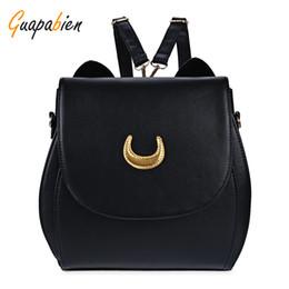Wholesale White Cat Backpack - Wholesale- Guapabien Korean Women Backpack PU Leather Sailor Moon Backpack Black White Luna Cat Ladies Backpack Girls Travel Back Pack