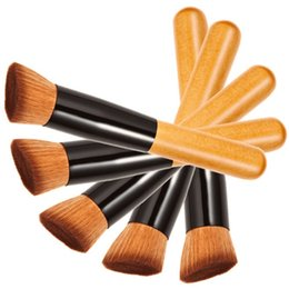 Wholesale Smallest Make Ups - Hot Small flat details foundation brush Universal makeup powder brushes make up brush Oblique head brush wood handle free shipping