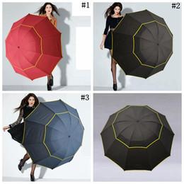 Wholesale Men Umbrella Folding - Large Outdoor Umbrellas 130cm Big Umbrella Folding Umbrella Windproof Large Paraguas Women Men 3 Floding Sun Rain Umbrellas 20pcs OOA2747