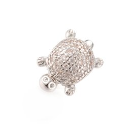 Wholesale Pandora Turtle Charm - Factory Outlet CZ Pave Silver Beads Sea Turtle Beads Fit Pandora Charm ICPD028 Size 13.6*9.5 mm