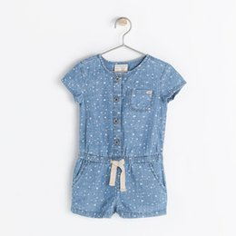 Wholesale Infant Denim Jeans - (0-2Y) no sleep romper baby girl short romper infant Jeans jumpsuit denim overalls shortalls short-sleeved jumpsuit pentacle free shpping