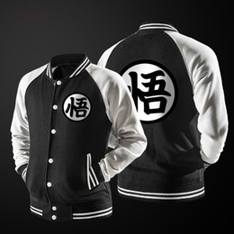 Wholesale Dragon Ball Coat - Wholesale- New Japanese Anime Dragon Ball Goku Varsity men Jacket Autumn Casual Sweatshirt Hoodie Coat Jacket Brand Lovers Baseball Jacket