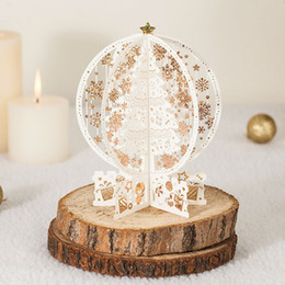Wholesale Christmas Laser Cut Greeting Cards - Laser Cut Vintage 3D Christmas Tree Pop Up Christmas Cards Postcard Greeting Wishes Message Card GX6163