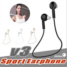 Auricular v3 online-V3 Bluetooth 4.1 mini auriculares deporte que se ejecuta con el auricular inalámbrico de Mic para auriculares del coche Auriculares Bluetooth para iPhone Samsung todos los teléfonos
