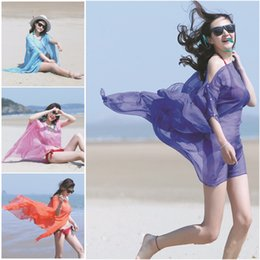 Wholesale Nail Pearls Tied - Hot sale Nail pearl button Cycling Sunscreen Colthes Oversized Solid Color Chiffon Silk Scarf Beach Sunscreen Shawl Towels 150*100cm