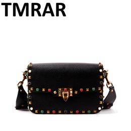 Wholesale Black Stud Bag - Wholesale-2016 New genuine leather rock color stud handbags women fashion color rivets shoulder bags easy matching for valentines M1928
