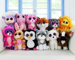 Wholesale Ty Plush Rabbit Toy - 2017 TY beanie boos big eyes plush toy doll child birthday Christmas gift Dog elephant rabbit Penguin