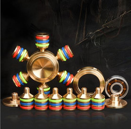 Wholesale Big Novelty Ring - Custom Brass Hexagonal Fidget Spinner DIY 5 Colors O-ring EDS SUS Bearing Metal Copper Spinners Decompression Novelty Toy