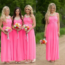 Wholesale Lavender Draped Sides Dress - Fuchsia Long Country Bridesmaid Dresses Cheap Plus Size Bridesmaids Gowns Cutaway Side Chiffon Lace Long Backless Prom Party Dresses
