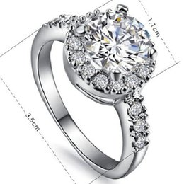 Wholesale Diamond Solid Wedding Ring - 2CT Round Cut Synthetic Diamond Women Wedding Ring Solid Sterling Silver Women Annivesary Day Gift Brilliant Forever Classic Jewelry