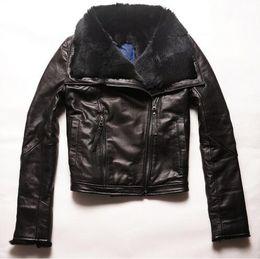 Wholesale Genuine Rabbit Jackets - Factory 2017 Women Jackets Real Sheepskin Genuine Leather With Natural Rabbit Fur Liner Fashion Brand Slim Warm Winter Coats