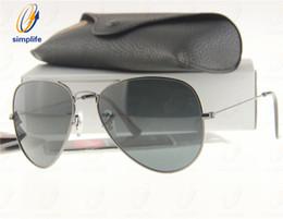 Wholesale Mens Guns - 58mm 62mm High Quality Mens & Womens Metal Pilot Sunglasses G15 Glass Lens Gun Grey Frame Sun Glasses + Box, Case, Card
