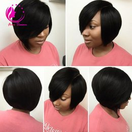 Wholesale Brown Layered Hair - Unprocessed Layered Virgin Human Hair Short Bob Wig For Black Women Glueless Lace Front Human Hair Bob Wigs With Side Bangs Freeshiping