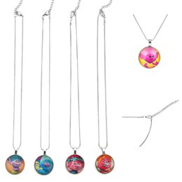 Wholesale Necklace Props - Trolls Arylic round pendant Necklace Poppy Branch Suki Biggie Uglydolls Figures Neck lace Kids Gifts Clothing Accessories Party props