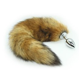 Wholesale dog tail anal plugs - large size 4*1.5 inches Stainless Steel Attractive Butt Plug Jewelry Jeweled Anal Plugs Rosebud toy Fox Tail   dog tail sex Toys