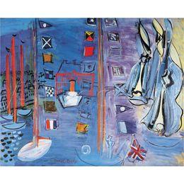 2019 landschaftsmalerei boote Boats Ölgemälde Raoul Dufy Das Becken in Deauville Landschaften moderne Kunst auf Leinwand Hohe Qualität Handbemalt günstig landschaftsmalerei boote