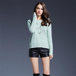 Wholesale thick crochet sweater women - Autumn Women Floral Sweaters Thick Long Sleeve Neck Knitted Sweater Casual Pullovers Solid Color Elegant Slim Pullover Warm Tops Free Size